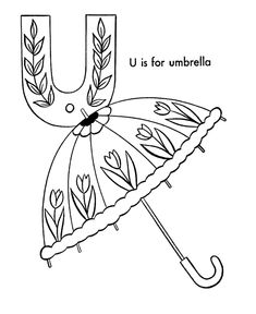 ABC Coloring Activity Sheet | Umbrella - Objects coloring page