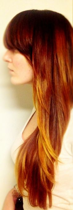 long red hair with balayage highlights / ombre / long hair with bangs / Red ombré /  Wella reds and a Paul Mitchell yellow gloss