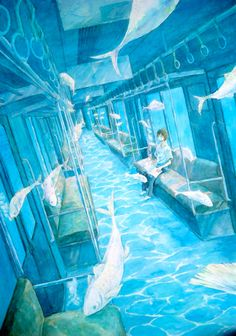 The color scheme and surrealistic quality caught my eye first, but still a great illustration of one-point perspective, albeit slanted (so there are no true verticals or horizontals). Art And Illustration, Illustrations, Kunst Inspo, Art Inspo, Fantasy Kunst, Fantasy Art, Anime Kunst, Anime Art, Poses References