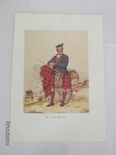 Good Vintage Colour Bookplate Print of the Century Scottish Clansman - Duncan MacGregor From an original watercolour painting by Kenneth Macleay RSA circa Unmounted - good margins for matting & framing Vintage Colors, Vintage Prints, Retro Vintage, Anniversary Decorations, Scottish Clans, Art For Sale, 19th Century, Watercolour Painting