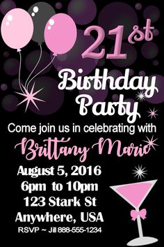 21st Birthday Invitation Template for Girls | Sydney's Faves | 21st birthday invitations, DIY 21st birthday invitations, Birthday invitation templates