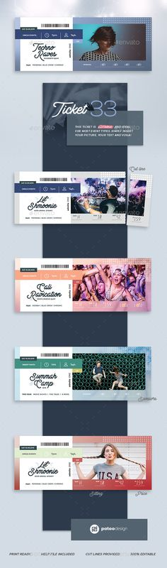 Buy Event Tickets Template 33 by patoodesign on GraphicRiver. I'll make it short: This ticket is a true gem! It's enjoyable to edit, looks fabulous and is suited for most event ty. Event Ticket Template, Event Tickets, Concert Tickets, Board Game Design, Summer Sky, Hipsters, Print Templates, Techno, Dj