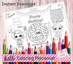 Birthday Kids Activity Placemat LOL Coloring Activity Page