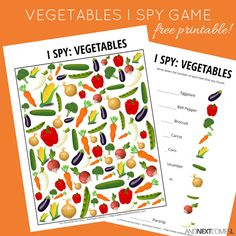 Free printable vegetables themed I Spy game for kids from And Next Comes L