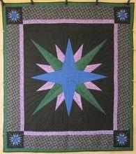 Mariners Compass Starburst Patchwork Amish Quilt 94x106