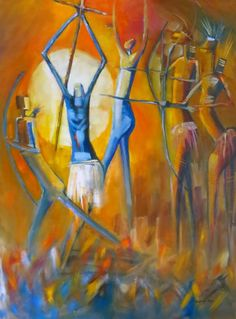 Artist: Stephanie Bester Artwork: Warriors Medium: Oil on canvas Size: 76 x 102 cm Price: R 4200 Canvas Size, Oil On Canvas, Large Artwork, Art Store, Artist Painting, Online Art, Warriors, African, Medium