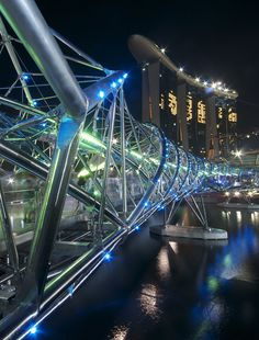 Helix Bridge, previously known as the Double Helix Bridge, is a pedestrian bridge linking Marina Centre with Marina South in the Marina Bay area in Singapore