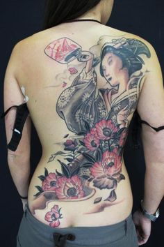 Geisha tattoo in black/grey/red
