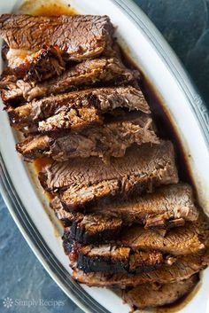 Easy Beef Brisket: Only 3 ingredients; beef brisket roast, slathered in a mixture of BBQ sauce and soy sauce, wrapped in foil, and baked until falling apart tender Beef Dishes, Food Dishes, Food Food, Main Dishes, Easy Beef Brisket Recipe, Beef Brisket Oven, Bbq Beef, Meat Recipes, Cooking Recipes