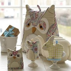 very sweet owl tea cosy and bunny cat and owl egg cup cosys