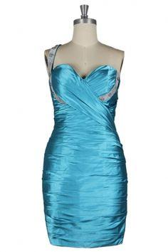 Robe de cocktail bleue ornée de strass à seule épaule