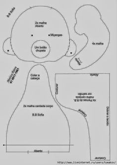 ARTE COM QUIANE - Paps,Moldes,E.V.A,Feltro,Costuras,Fofuchas 3D: Molde 2 Boneca sentada
