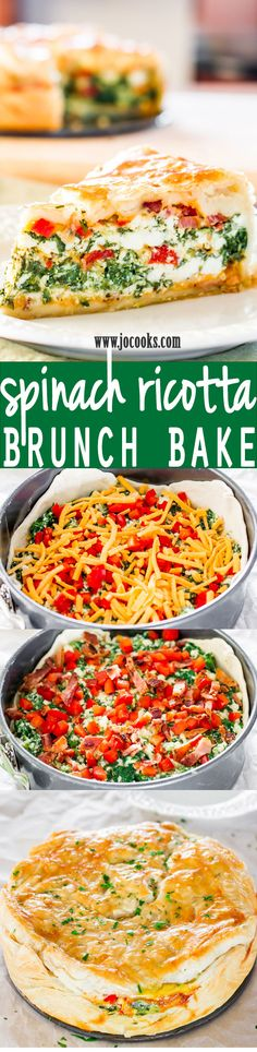 *Made this for brunch, A+ for taste and presentation. CR The post Spinach Ricotta Brunch Bake. *Made this for brunch, A+ for taste and presentati… app . Breakfast Dishes, Breakfast Time, Breakfast Recipes, Breakfast Spinach, Quiche Recipes, Brunch Recipes, Vegetarian Recipes, Cooking Recipes, Healthy Recipes