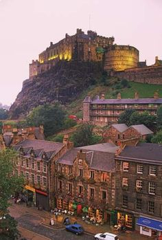 Grassmarket district below Edinburgh Castle, Scotland.
