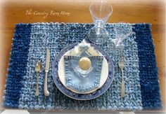 Two-in-One Rag Rug Loom - cut old denim into strips to weave into a place mat.  Use the pockets for a napkin and/or silverware holder.