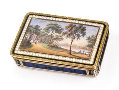 A SWISS GOLD, ENAMEL, AND PEARL-SET SNUFF BOX, JEAN-GEORGES RÉMOND ET CIE, GENEVA, CIRCA 1810