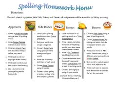 Menu - Homework idea for spelling