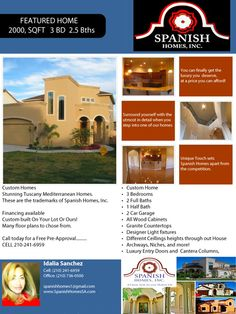 ATTENTION !!  Spanish Homes Inc.  is Now Building Mediterranean Custom Homes, On PRUE BEND SUBDIVISION.  7327 Elizabeth Way San Antonio Texas 78240 Close to the Medical Center, USAA, UTSA,  Six Flags Fiesta Texas and The Shops at La Cantera. Call Us 210-241-6959