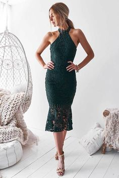 Sonia Lace Midi Dress - Green We have fallen in love with SONIA and her classic halter neckline. New lace and backless. Green Midi Dress, Mauve Dress, Lace Midi Dress, Lace Dress Black, Tall Dresses, Sexy Dresses, Australian Clothing, Pretty Outfits, Dresses Online