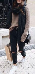 #fall #fashion / brown knit sweater + gray scarf
