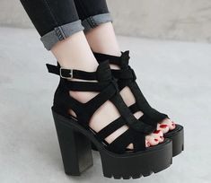 Apr 2020 - Suede Platform Sandals – The Shoe Outlet Shop Sarah Jessica, Jessica Parker, Leather Fashion, Fashion Shoes, Fashion Accessories, Suede Boots, Leather Heels, Gothic Shoes, Tennis Shoes Outfit