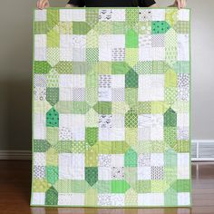 Here's that little scrappy green + low vol quilt I was working on last week! The pattern is a fun one- from the new Nine Patch Revolution…