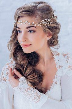 Crystal Decorated Wedding Bridal Hair Vine Bridal HeadBand Wedding Tiara Bridal Diadem Bridal Wreath / http://www.deerpearlflowers.com/wedding-hairstyles/