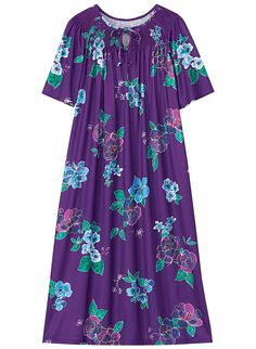 Comfortable print dress with feminine smocked neckline and self-tie keyhole has shirring for an easy fit and a handy side seam pocket. Machine wash and dry. Sharara Designs, Silk Anarkali Suits, Night Dress For Women, Nightgowns For Women, Casual Dress Outfits, House Dress, African Dress, Night Gown, Dress Patterns