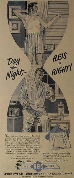 1940s REIS Men s Boxers Pyjamas Boxer Shorts Underwear Illustration Vintage  Advertisement f209e32c9