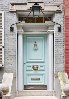 Miles Redd's New York Townhouse, Blue Front Door Front Door Paint Colors, Painted Front Doors, Interior Barn Doors, Interior Exterior, Interior Design, Modern Exterior, Interior Paint, New York Townhouse, Azul Tiffany