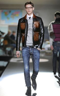 DSquared mens - layering leather jacket, t-shirt,  dress shirt, and jeans #engagement #groom