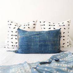 Fringe Organpipe Pillow Cover | Indigo Pillow, Indigo Mudcloth, Boho Decor, African Indigo, Boho Pillow, Throw Pillow, Lumbar Pillow, Linen