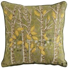 Robin sightings? Groundhog shadows? Please. Spring arrives the moment you bring home our embroidered trees pillow. A fresh, green forest of newly stitched birches, budding with bright yellow leaves—now there's your first sign of spring.