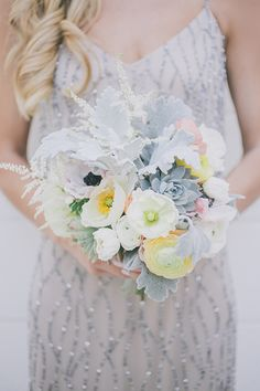 Anemone, poppy and succulent bouquet