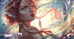 Blow by RedPear on DeviantArt- mermaid with red/orange hair and scales...