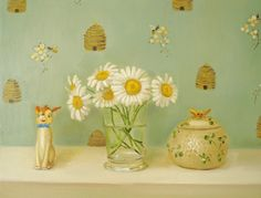 "Janet Hill ~ Beeloved, 11""x14"", oil on canvas. ~ honey pot with beehives, daisies and oddball bambi figurine"