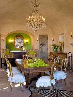 Suzanne Sommers' 65 acre Palm  Springs Home - Dining Room. Green & gold!  Something about this I like!