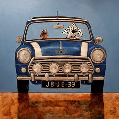 020 MIni Cooper (Doxie and Dalmation Friend) Art Print signed and numbered by Ed van der Hoek