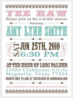 Western Invitation Bridal Baby by SweetBeeDesignShoppe on Etsy