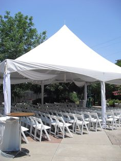 Tented patio for ceremony at Whitehall Center