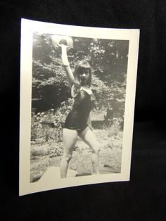 Vintage Retro B&W Photo Pin-up Bathing Beauty Beach Ball Swimsuit Suit Risque