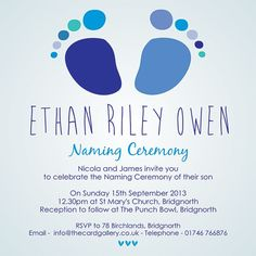 Blue Baby Feet   Naming Ceremony Postcard   Boys