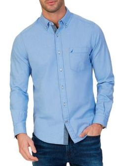 Nautica Men's Stretch Oxford Shirt - French Blue - 3Xlt