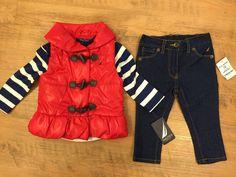 Nautica Baby Girls' 3 Piece Set 12 Months Jeans Puffy Vest Long Sleeve Shirt