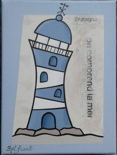 Art Mini Toile, Art Fantaisiste, Lighthouse Painting, Mini Canvas Art, Whimsical Art, Pictures To Paint, Stone Painting, Painted Rocks, Nautical