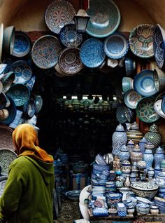 "vmagazine:  SECRET LIFE OF FEZ - photographs by Felix Odell - destination: Morocco - CN Traveler September 2015  ""Traditional Fassi pottery on display at the Souek el Henna a picturesque market in the medina."" ~ Gisela Williams"