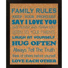 Family Rules Cork Board.