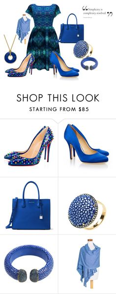 """Simply Blue"" by kelly-floramoon-legg ❤ liked on Polyvore featuring Christian Louboutin, Liam Fahy, MICHAEL Michael Kors, NOVICA and Charter Club"