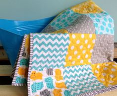 "Aqua, Yellow & Gray Hippo Modern Quilt. 36x48"" with soft minky dimple fleece on the back. $79.00"