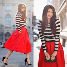 avec quelle couleur combiner la blouse blanc et noir, jupe longue rouge avec chaussures noires